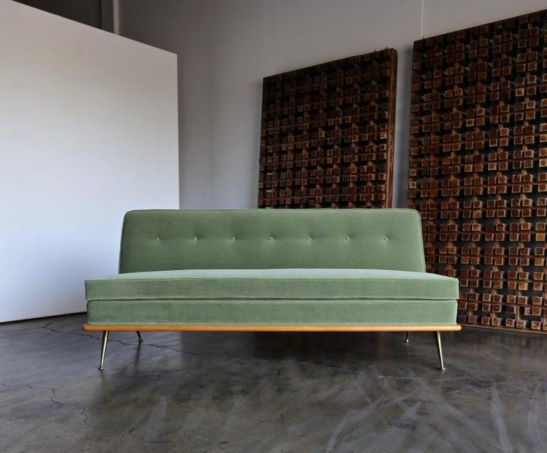 Mohair T.H. Robsjohn-Gibbings Sofa, Model 1727 for Widdicomb, circa 1955 For Sale