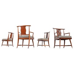 T.H. Robsjohn-Gibbings Style Eastern Influence Mahogany Dining Chairs