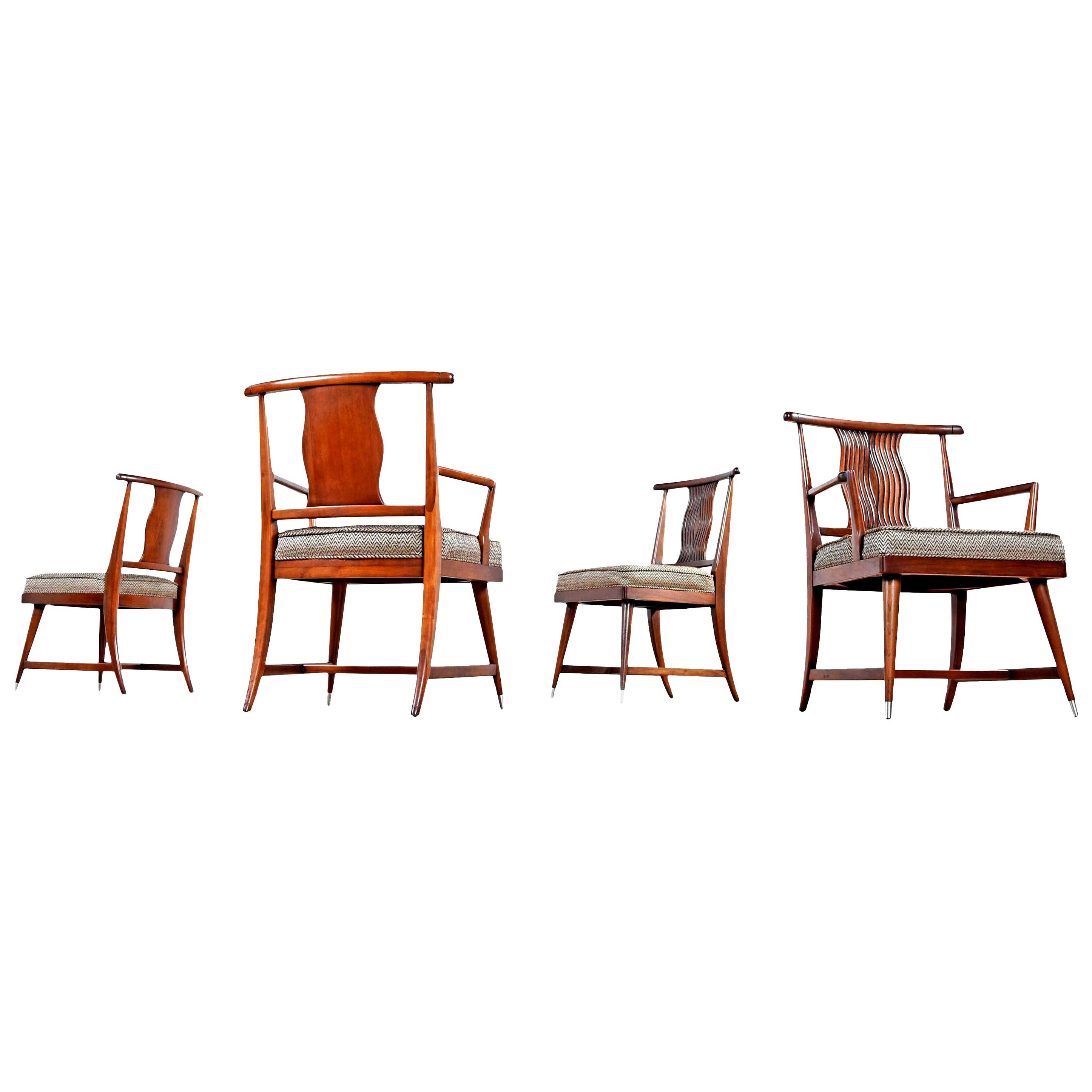 T.H. Robsjohn-Gibbings Style Eastern Influence Mahogany Dining Chairs