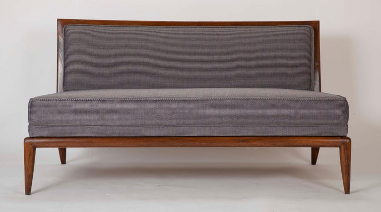 Mid-Century Modern T.H. Robsjohn Gibbings Style Open Arm Settee in Walnut and Delany & Long Fabric For Sale