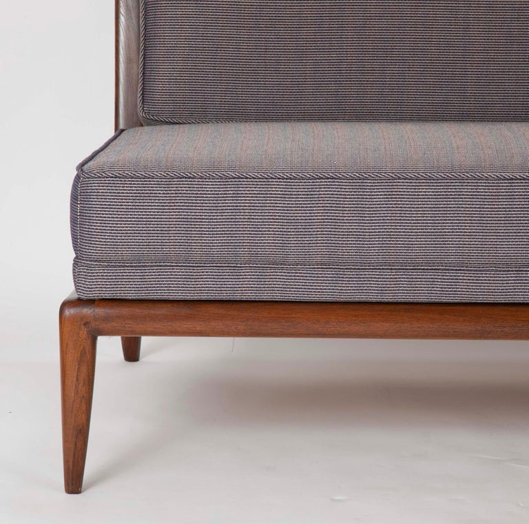 American T.H. Robsjohn Gibbings Style Open Arm Settee in Walnut and Delany & Long Fabric For Sale