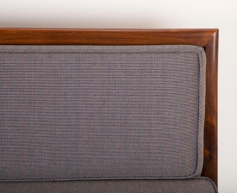 Mid-20th Century T.H. Robsjohn Gibbings Style Open Arm Settee in Walnut and Delany & Long Fabric For Sale