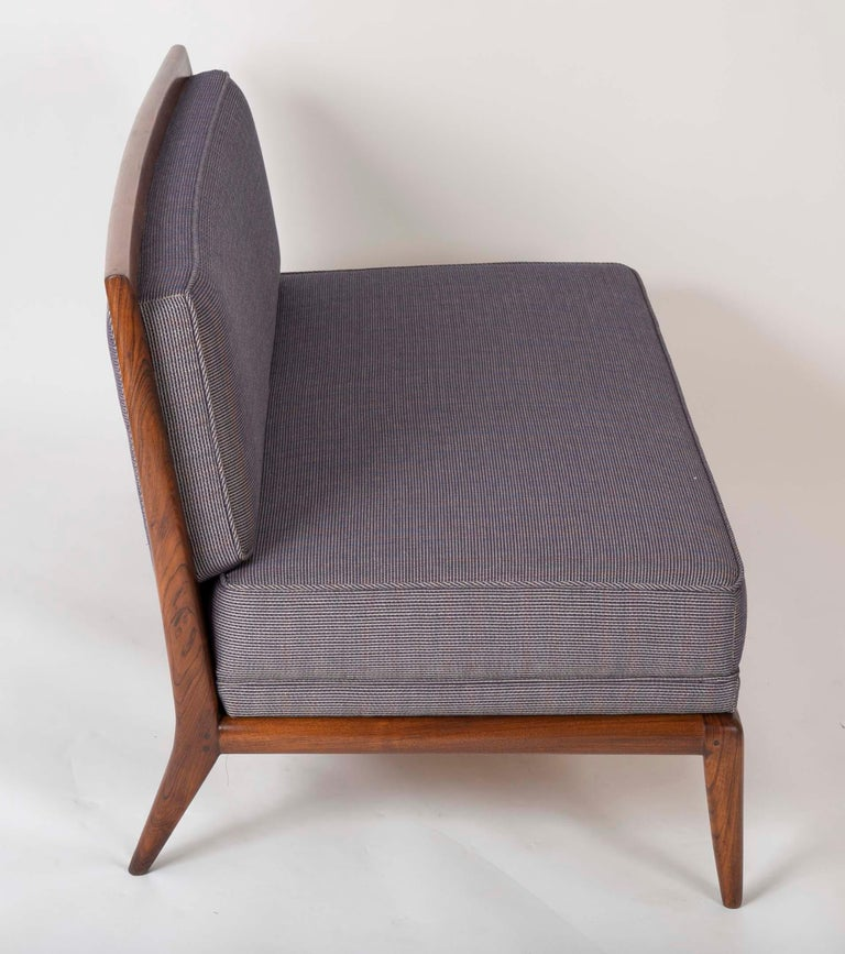 T.H. Robsjohn Gibbings Style Open Arm Settee in Walnut and Delany & Long Fabric For Sale 1