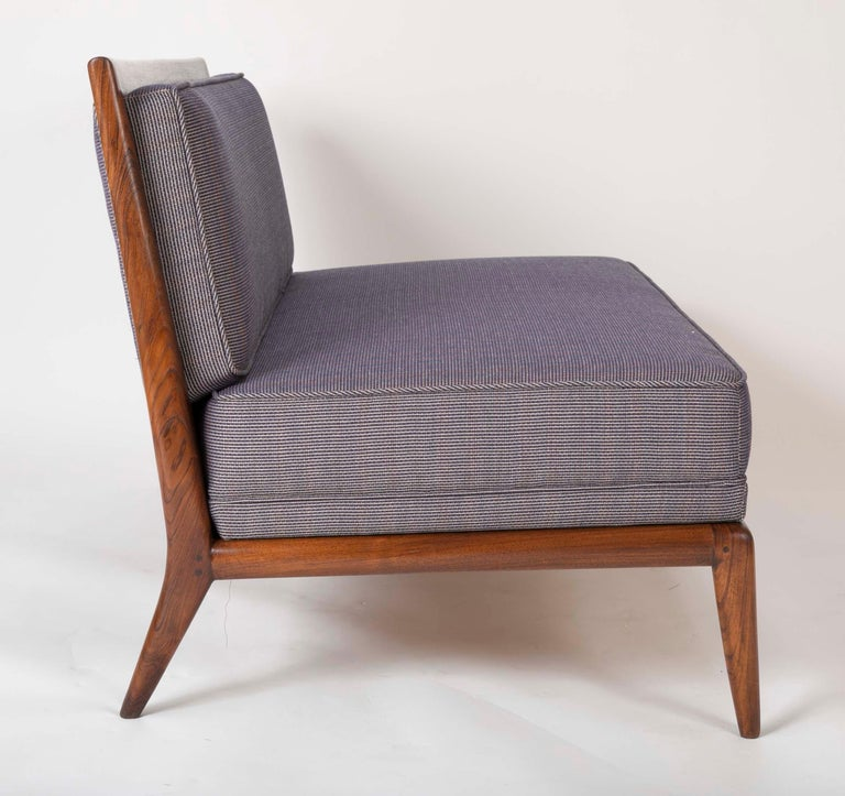 T.H. Robsjohn Gibbings Style Open Arm Settee in Walnut and Delany & Long Fabric For Sale 2