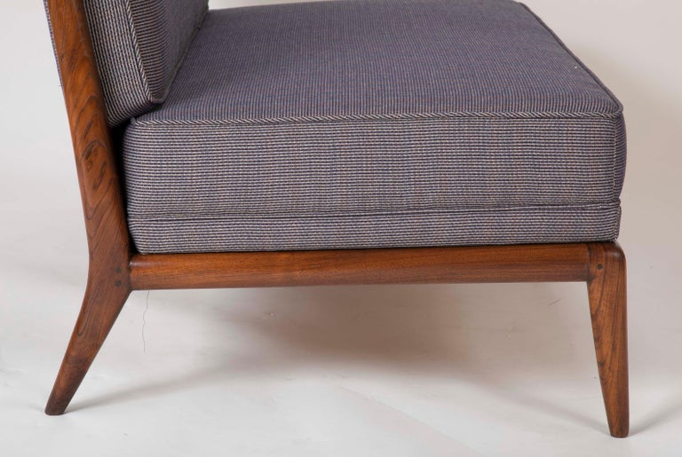 T.H. Robsjohn Gibbings Style Open Arm Settee in Walnut and Delany & Long Fabric For Sale 3