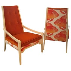 T.H. Robsjohn-Gibbings Style Orange Velvet & White Linen Arm Lounge Chairs, Pair