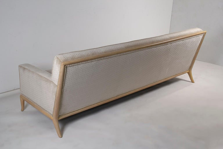 T.H. Robsjohn Gibbings Three-Seat Sofa Custom Bleached Walnut Frame Widdicomb For Sale 4