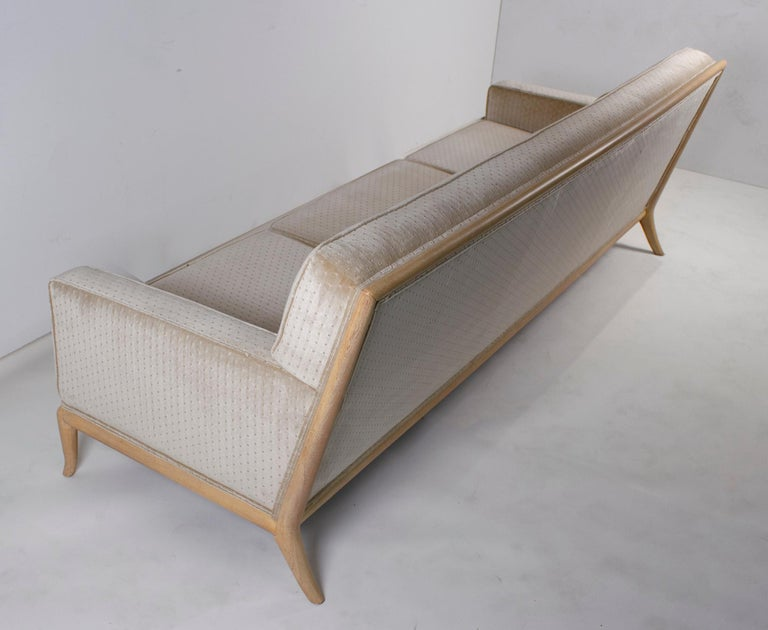 Mid-Century Modern T.H. Robsjohn Gibbings Three-Seat Sofa Custom Bleached Walnut Frame Widdicomb For Sale