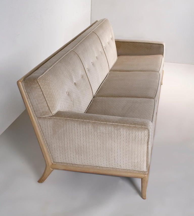 T.H. Robsjohn Gibbings Three-Seat Sofa Custom Bleached Walnut Frame Widdicomb In Good Condition For Sale In Dallas, TX