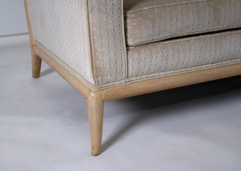 20th Century T.H. Robsjohn Gibbings Three-Seat Sofa Custom Bleached Walnut Frame Widdicomb For Sale