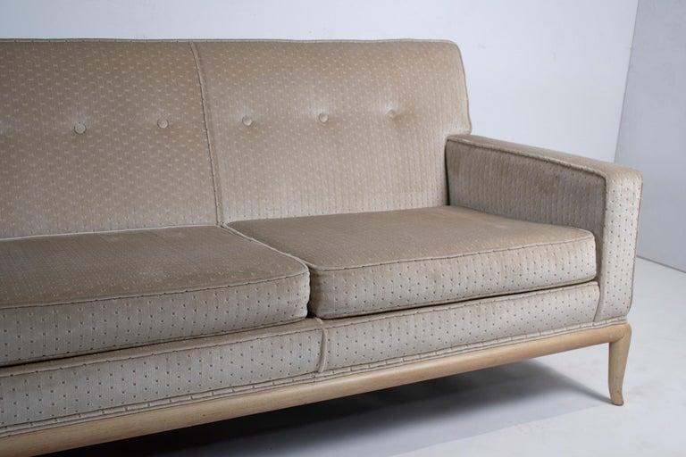 T.H. Robsjohn Gibbings Three-Seat Sofa Custom Bleached Walnut Frame Widdicomb For Sale 1