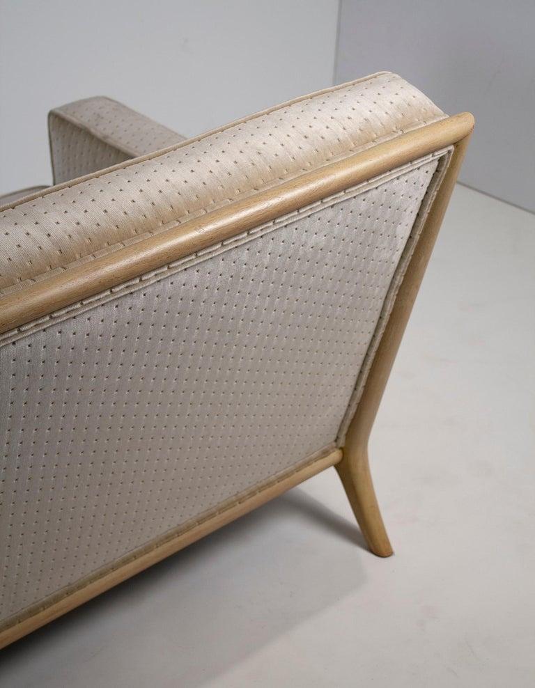 T.H. Robsjohn Gibbings Three-Seat Sofa Custom Bleached Walnut Frame Widdicomb For Sale 2