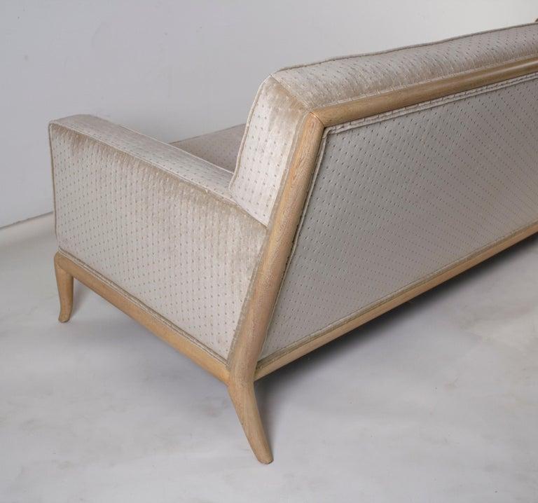 T.H. Robsjohn Gibbings Three-Seat Sofa Custom Bleached Walnut Frame Widdicomb For Sale 3