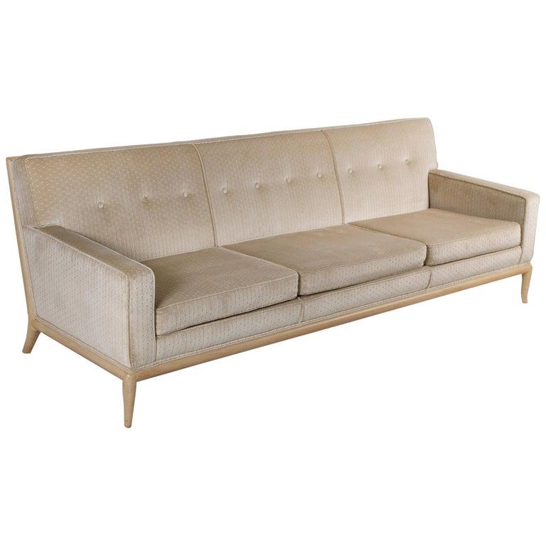 T.H. Robsjohn Gibbings Three-Seat Sofa Custom Bleached Walnut Frame Widdicomb For Sale