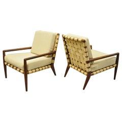 T.H. Robsjohn Gibbings Widdicomb Mid-Century Modern Strap Lounge Chairs, A Pair
