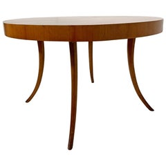 T.H. Robsjohn-Gibbings Widdicomb Saber Leg Round Dining Table with Three Leaves