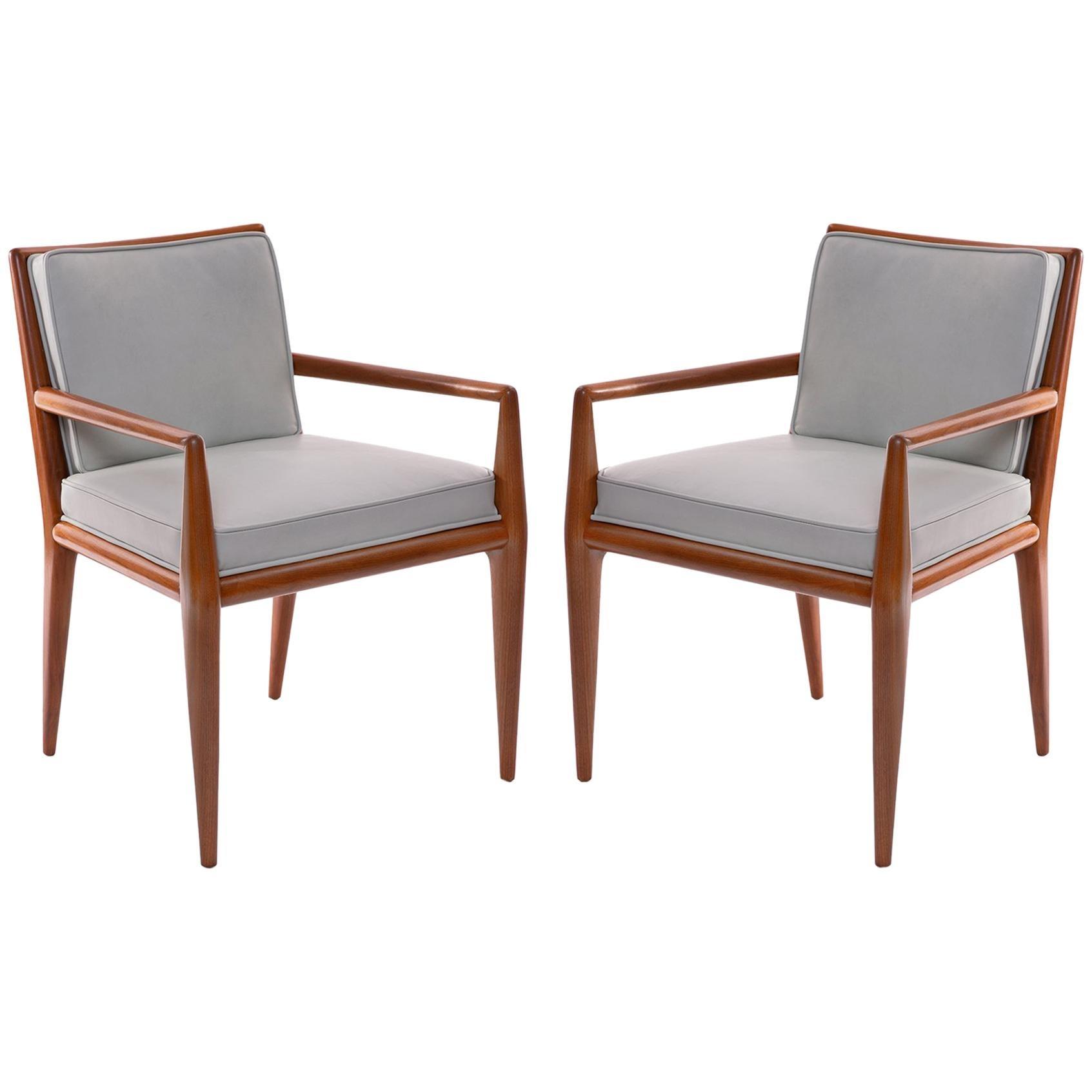 T.H. Robsjohn-Gibbings Widdicomb Walnut Leather Armchairs