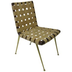 T.H. Robsjohn Gibbings Wood Woven Strapping and Brass Desk Chair for Widdicomb