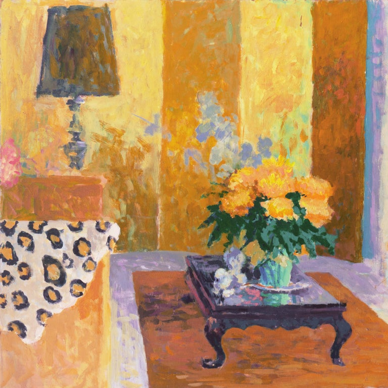 'The Sun Room', Impressionist Interior, Stanford, Cranbrook, California artist - Brown Still-Life Painting by Thad Emory Leland