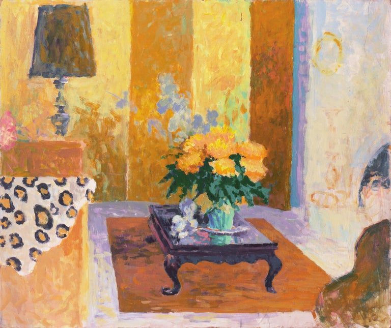Thad Emory Leland Still-Life Painting - 'The Sun Room', Impressionist Interior, Stanford, Cranbrook, California artist