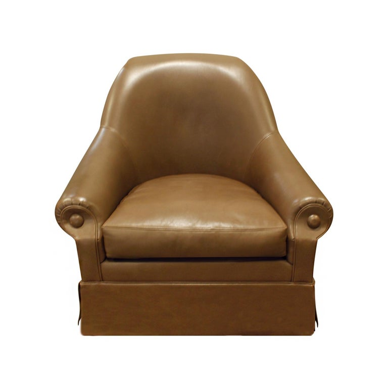 Custom barrel back lounge chair in leather on casters designed by Thad Hayes for William and Karen Lauder, American, 2000. This comes with a Letter of Provenance from Thad Hayes. It was published in Architectural Digest, The Great Design Issue, May