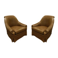 Thad Hayes Custom Pair of Barrel Back Lounge Chairs, 2000