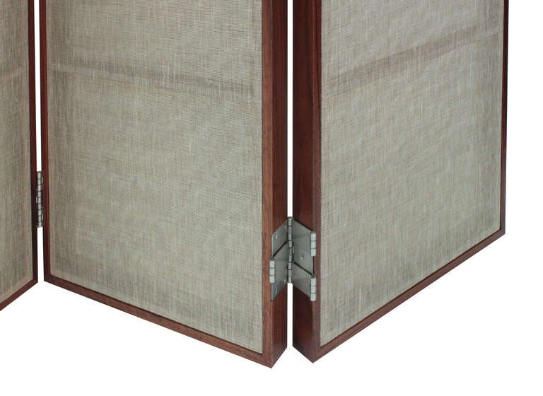 Mid-Century Modern Thad Hayes Pair of Screens with Sheer Linen Panels, 1990s For Sale