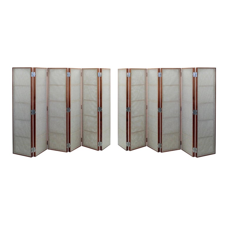 Thad Hayes Pair of Screens with Sheer Linen Panels, 1990s For Sale