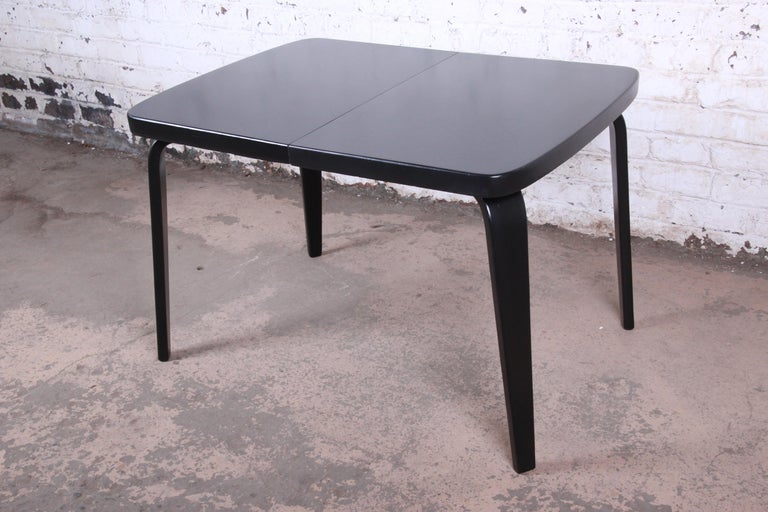 Thaden Jordan Black Lacquered Bentwood Birch Extension Dining Table, 1940s 4