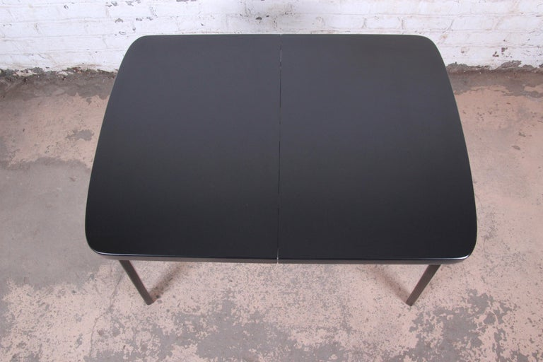 Thaden Jordan Black Lacquered Bentwood Birch Extension Dining Table, 1940s 6