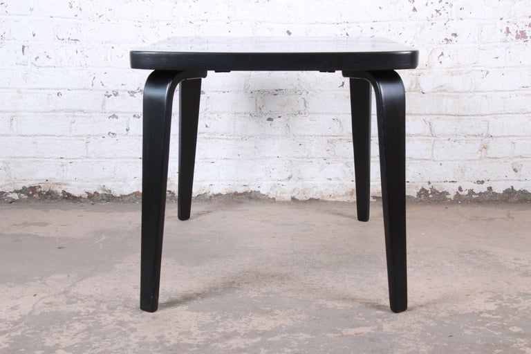 Thaden Jordan Black Lacquered Bentwood Birch Extension Dining Table, 1940s 7