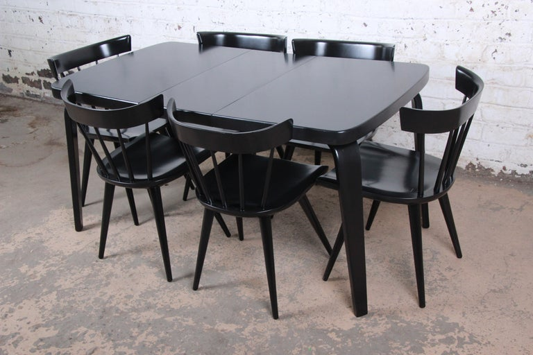 Thaden Jordan Black Lacquered Bentwood Birch Extension Dining Table, 1940s 8