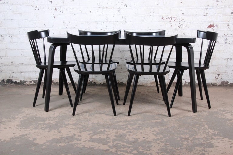 Thaden Jordan Black Lacquered Bentwood Birch Extension Dining Table, 1940s 9