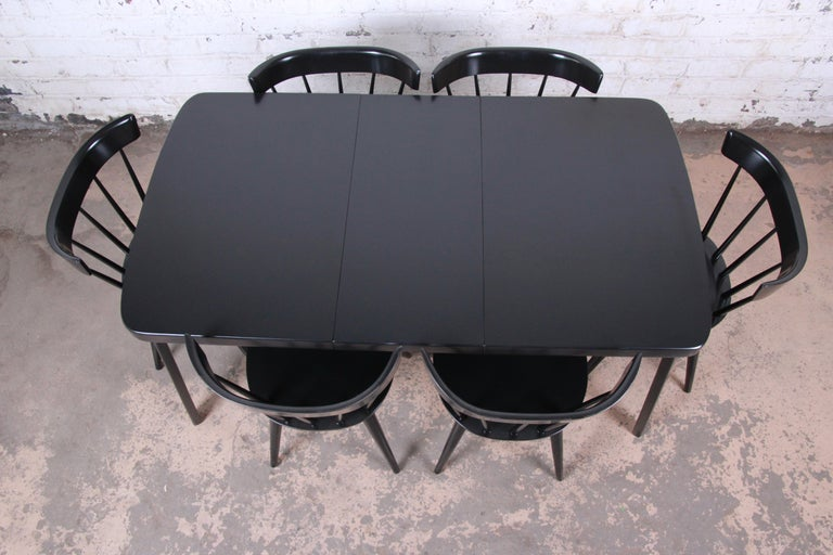Thaden Jordan Black Lacquered Bentwood Birch Extension Dining Table, 1940s 10