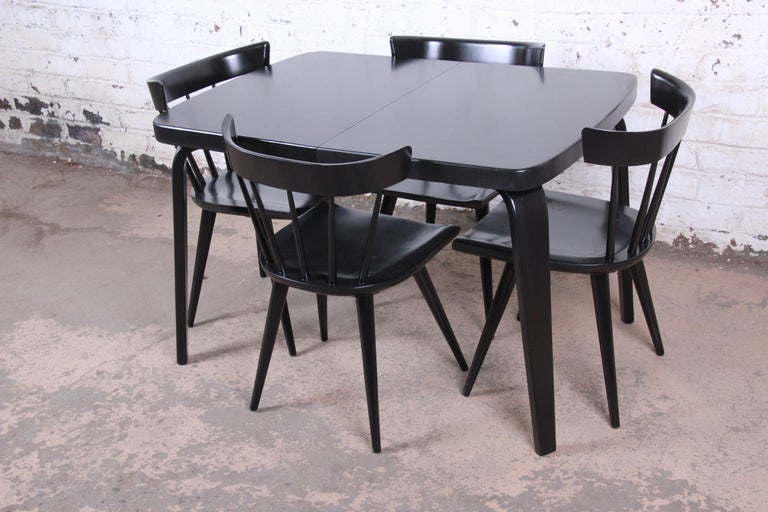 Thaden Jordan Black Lacquered Bentwood Birch Extension Dining Table, 1940s 11