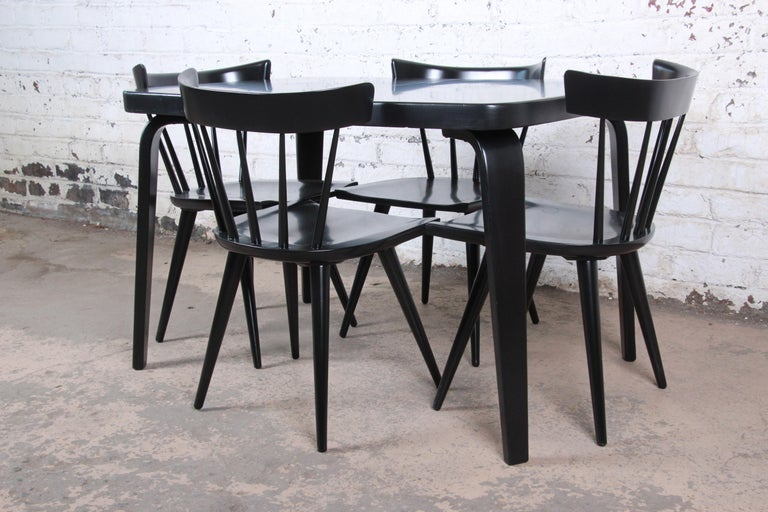 Thaden Jordan Black Lacquered Bentwood Birch Extension Dining Table, 1940s 12