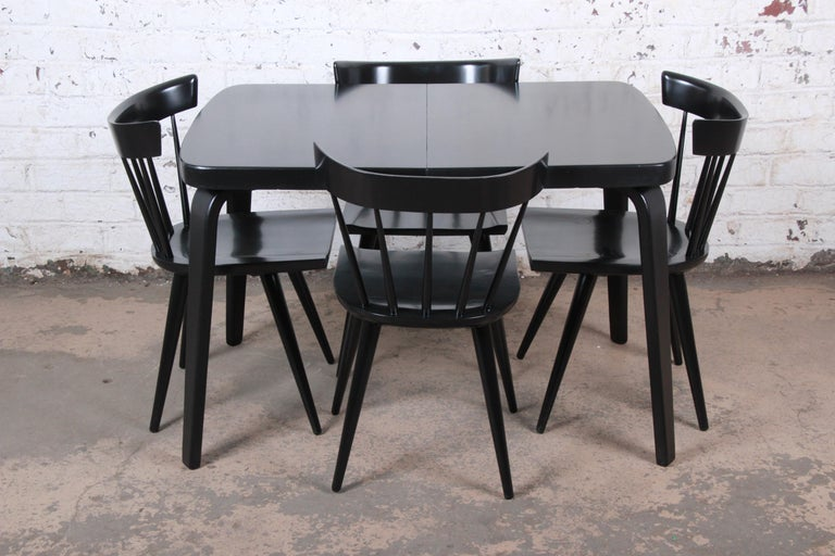 Thaden Jordan Black Lacquered Bentwood Birch Extension Dining Table, 1940s 13