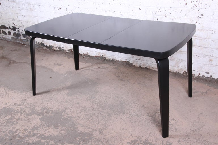 Mid-Century Modern Thaden Jordan Black Lacquered Bentwood Birch Extension Dining Table, 1940s