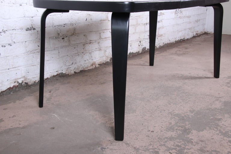 Thaden Jordan Black Lacquered Bentwood Birch Extension Dining Table, 1940s 1