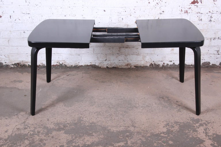Thaden Jordan Black Lacquered Bentwood Birch Extension Dining Table, 1940s 2