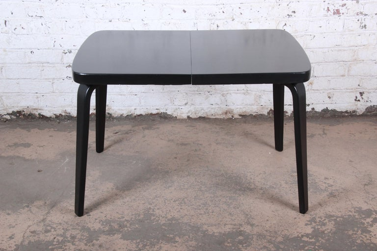 Thaden Jordan Black Lacquered Bentwood Birch Extension Dining Table, 1940s 3