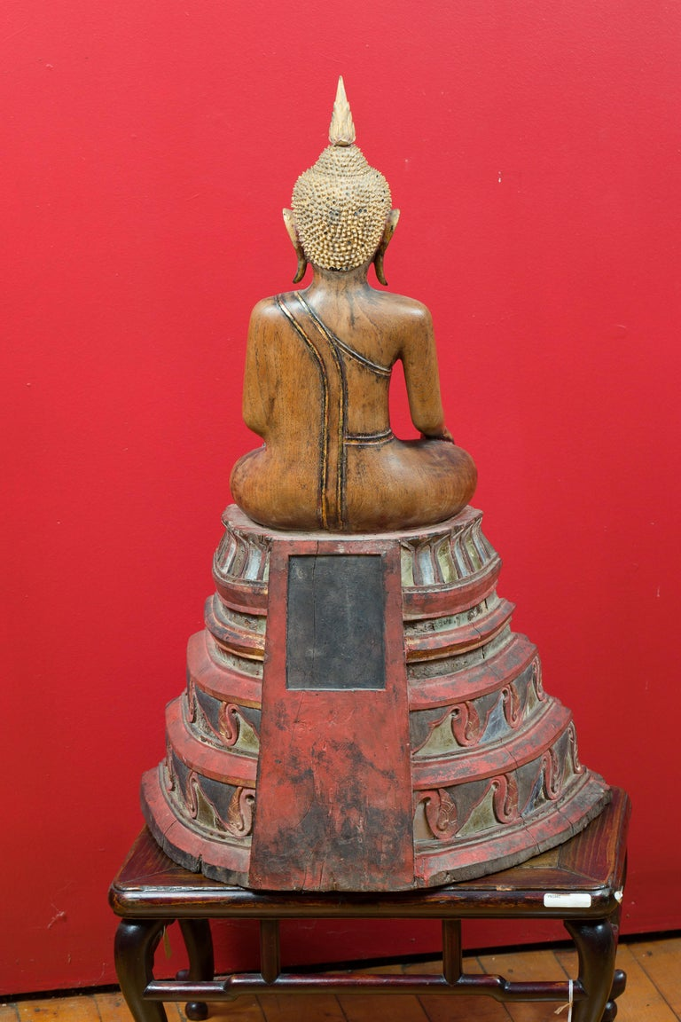 Thai 18th Century Carved Teak Seated Buddha Calling the Earth to Witness For Sale 6