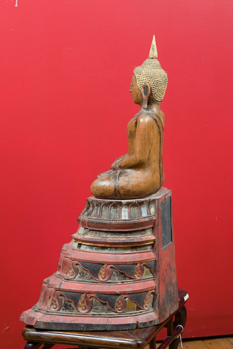 Thai 18th Century Carved Teak Seated Buddha Calling the Earth to Witness For Sale 7