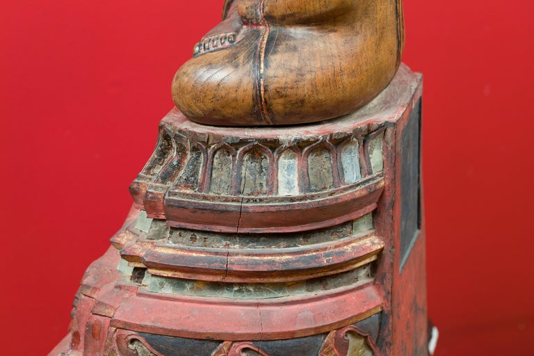 Thai 18th Century Carved Teak Seated Buddha Calling the Earth to Witness For Sale 8