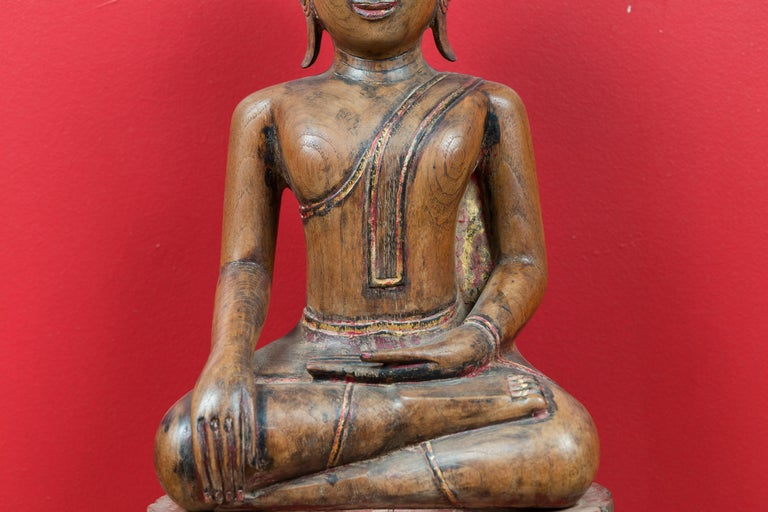 18th Century and Earlier Thai 18th Century Carved Teak Seated Buddha Calling the Earth to Witness For Sale