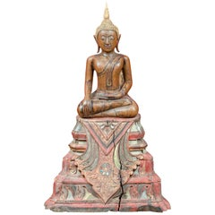 Thai 18th Century Carved Teak Seated Buddha Calling the Earth to Witness