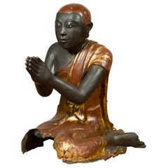 Thai 19th Century Kneeling Ceremonial Temple Monk Lacquered and Gilt Sculpture
