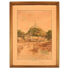 Thai Artist Watercolor on Paper Phu Khao Thong / Temple of the Holy Mount