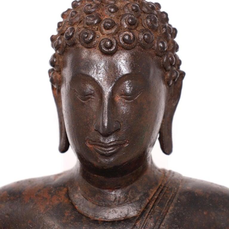 Thai Ayutthaya Bronze Seated Buddha Figure, 14th-15th Century For Sale 6