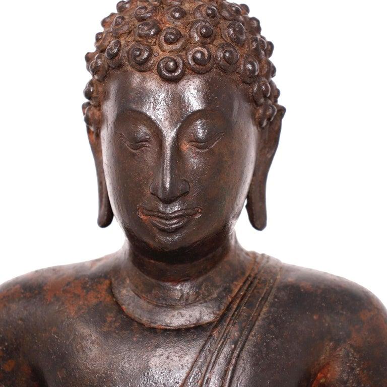 Thai Ayutthaya Bronze Seated Buddha Figure, 14th-15th Century For Sale 7